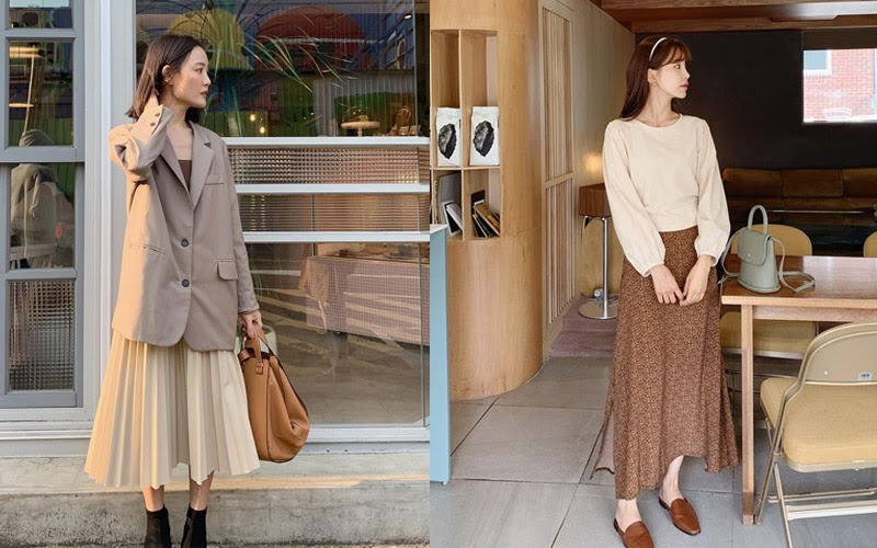 Thời trang công sở nữ dịu dàng trong bộ trang phục với váy midi