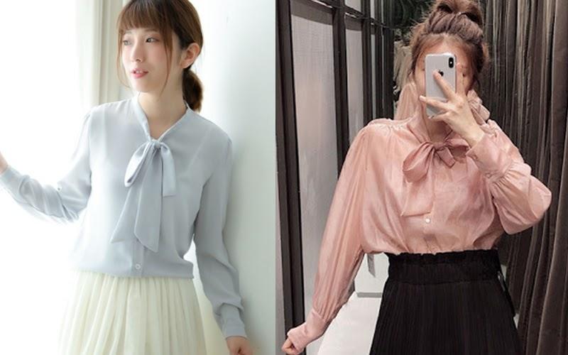Áo blouse với chi tiết thắt nơ phần cổ